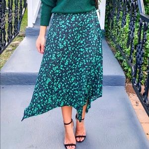NWT Mid-Rise Asymmetrical Hem Midi Skirt